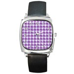 HOUNDSTOOTH1 WHITE MARBLE & PURPLE DENIM Square Metal Watch Front