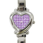 HOUNDSTOOTH1 WHITE MARBLE & PURPLE DENIM Heart Italian Charm Watch