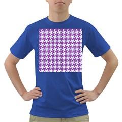 Houndstooth1 White Marble & Purple Denim Dark T Shirt
