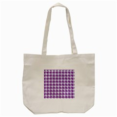 Houndstooth1 White Marble & Purple Denim Tote Bag (cream)