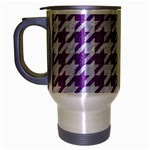 HOUNDSTOOTH1 WHITE MARBLE & PURPLE DENIM Travel Mug (Silver Gray) Left