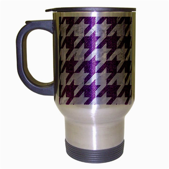 HOUNDSTOOTH1 WHITE MARBLE & PURPLE DENIM Travel Mug (Silver Gray)