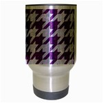 HOUNDSTOOTH1 WHITE MARBLE & PURPLE DENIM Travel Mug (Silver Gray) Center
