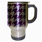 HOUNDSTOOTH1 WHITE MARBLE & PURPLE DENIM Travel Mug (Silver Gray) Right