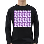 HOUNDSTOOTH1 WHITE MARBLE & PURPLE DENIM Long Sleeve Dark T-Shirts Front