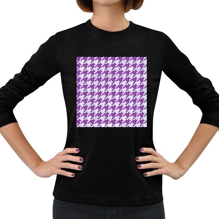 HOUNDSTOOTH1 WHITE MARBLE & PURPLE DENIM Women s Long Sleeve Dark T-Shirts