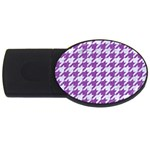 HOUNDSTOOTH1 WHITE MARBLE & PURPLE DENIM USB Flash Drive Oval (4 GB) Front