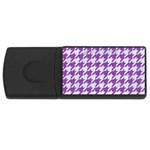 HOUNDSTOOTH1 WHITE MARBLE & PURPLE DENIM Rectangular USB Flash Drive Front