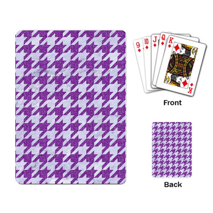 HOUNDSTOOTH1 WHITE MARBLE & PURPLE DENIM Playing Card