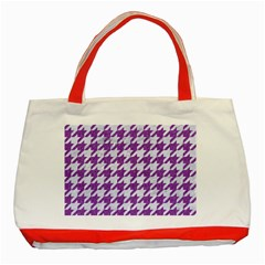 Houndstooth1 White Marble & Purple Denim Classic Tote Bag (red)