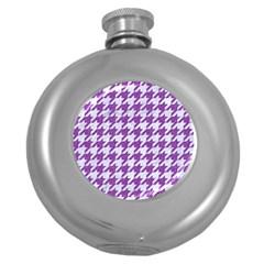 Houndstooth1 White Marble & Purple Denim Round Hip Flask (5 Oz) by trendistuff