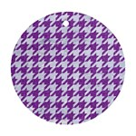 HOUNDSTOOTH1 WHITE MARBLE & PURPLE DENIM Round Ornament (Two Sides) Front