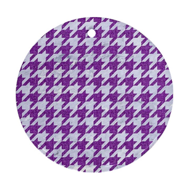 HOUNDSTOOTH1 WHITE MARBLE & PURPLE DENIM Round Ornament (Two Sides)