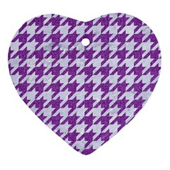 Houndstooth1 White Marble & Purple Denim Heart Ornament (two Sides)