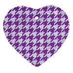 HOUNDSTOOTH1 WHITE MARBLE & PURPLE DENIM Heart Ornament (Two Sides) Front