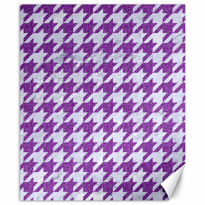 HOUNDSTOOTH1 WHITE MARBLE & PURPLE DENIM Canvas 8  x 10