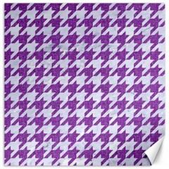 Houndstooth1 White Marble & Purple Denim Canvas 20  X 20