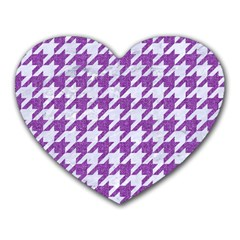 Houndstooth1 White Marble & Purple Denim Heart Mousepads