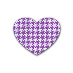 Houndstooth1 White Marble & Purple Denim Rubber Coaster (heart)