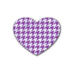 HOUNDSTOOTH1 WHITE MARBLE & PURPLE DENIM Rubber Coaster (Heart)  Front