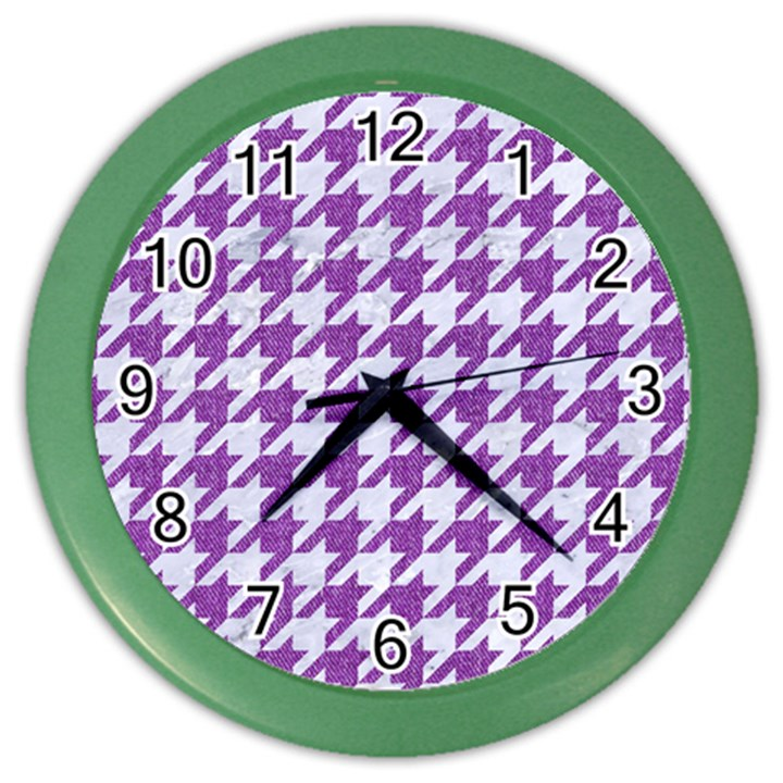 HOUNDSTOOTH1 WHITE MARBLE & PURPLE DENIM Color Wall Clocks