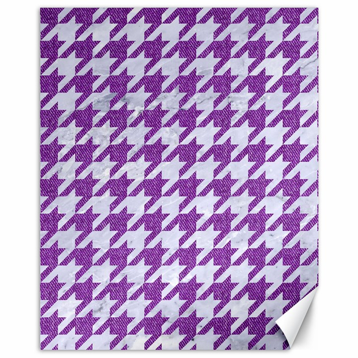 HOUNDSTOOTH1 WHITE MARBLE & PURPLE DENIM Canvas 11  x 14