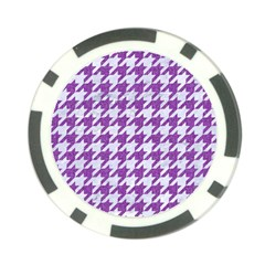 Houndstooth1 White Marble & Purple Denim Poker Chip Card Guard