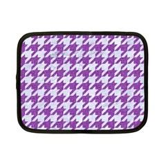 Houndstooth1 White Marble & Purple Denim Netbook Case (small)