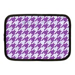 HOUNDSTOOTH1 WHITE MARBLE & PURPLE DENIM Netbook Case (Medium)  Front