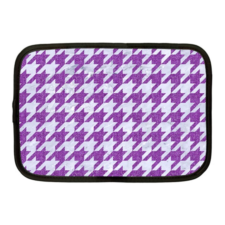 HOUNDSTOOTH1 WHITE MARBLE & PURPLE DENIM Netbook Case (Medium)