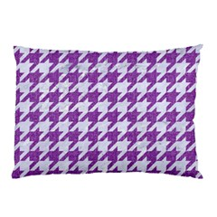 Houndstooth1 White Marble & Purple Denim Pillow Case
