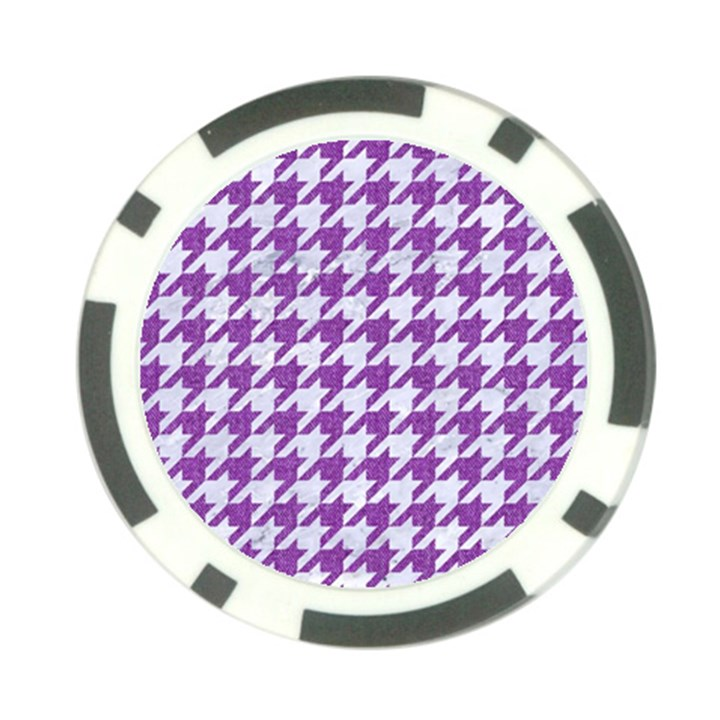 HOUNDSTOOTH1 WHITE MARBLE & PURPLE DENIM Poker Chip Card Guard (10 pack)