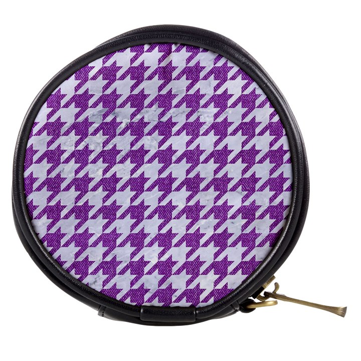 HOUNDSTOOTH1 WHITE MARBLE & PURPLE DENIM Mini Makeup Bags