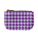HOUNDSTOOTH1 WHITE MARBLE & PURPLE DENIM Mini Coin Purses Front