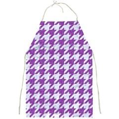 Houndstooth1 White Marble & Purple Denim Full Print Aprons