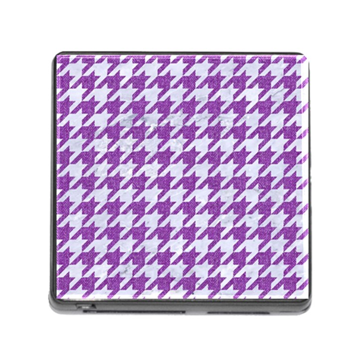HOUNDSTOOTH1 WHITE MARBLE & PURPLE DENIM Memory Card Reader (Square)
