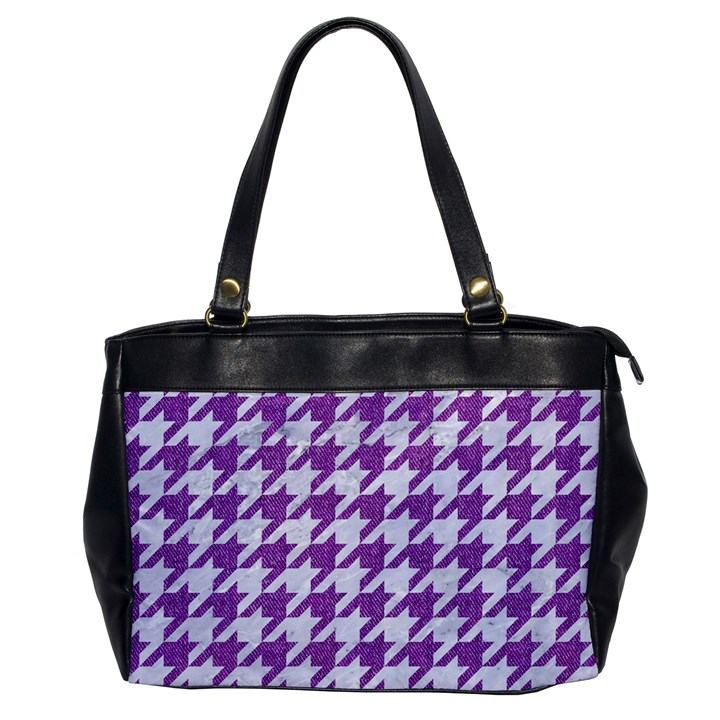 HOUNDSTOOTH1 WHITE MARBLE & PURPLE DENIM Office Handbags