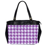 HOUNDSTOOTH1 WHITE MARBLE & PURPLE DENIM Office Handbags (2 Sides)  Front