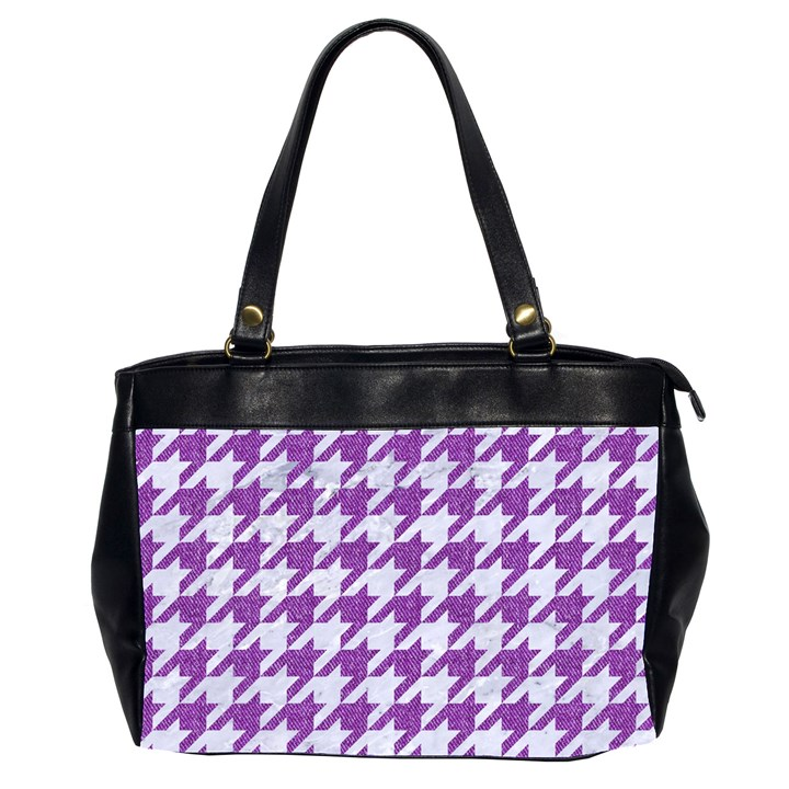 HOUNDSTOOTH1 WHITE MARBLE & PURPLE DENIM Office Handbags (2 Sides)