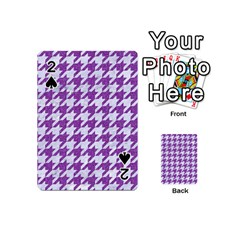 Houndstooth1 White Marble & Purple Denim Playing Cards 54 (mini)