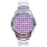 HOUNDSTOOTH1 WHITE MARBLE & PURPLE DENIM Stainless Steel Analogue Watch Front