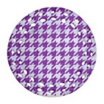 HOUNDSTOOTH1 WHITE MARBLE & PURPLE DENIM Ornament (Round Filigree) Front