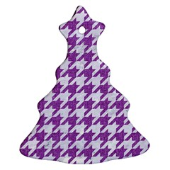 Houndstooth1 White Marble & Purple Denim Ornament (christmas Tree)
