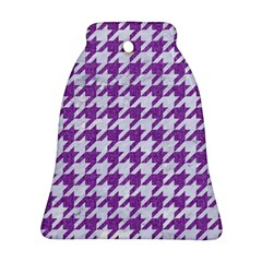 Houndstooth1 White Marble & Purple Denim Ornament (bell)