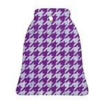 HOUNDSTOOTH1 WHITE MARBLE & PURPLE DENIM Ornament (Bell) Front