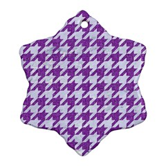 Houndstooth1 White Marble & Purple Denim Snowflake Ornament (two Sides)