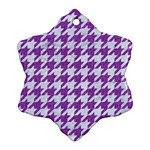 HOUNDSTOOTH1 WHITE MARBLE & PURPLE DENIM Snowflake Ornament (Two Sides) Back