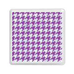 Houndstooth1 White Marble & Purple Denim Memory Card Reader (square)  by trendistuff