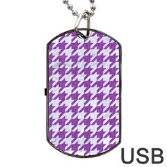 Houndstooth1 White Marble & Purple Denim Dog Tag Usb Flash (two Sides)
