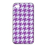 HOUNDSTOOTH1 WHITE MARBLE & PURPLE DENIM Apple iPhone 4/4s Seamless Case (Black) Front